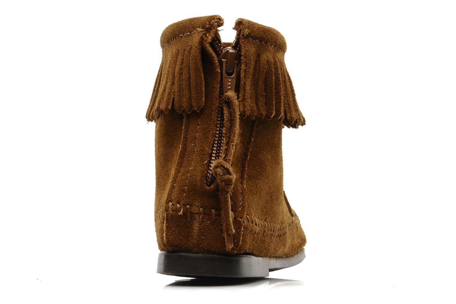 Ankle boots Minnetonka BACK ZIPPER BT Brown view from the right